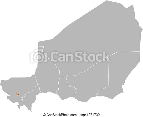 Map - niger, niamey. Map of niger with the provinces, niamey is ...