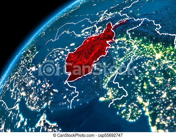 Map of afghanistan at night afghanistan highlighted in red from map of afghanistan at night csp55692747 gumiabroncs Gallery