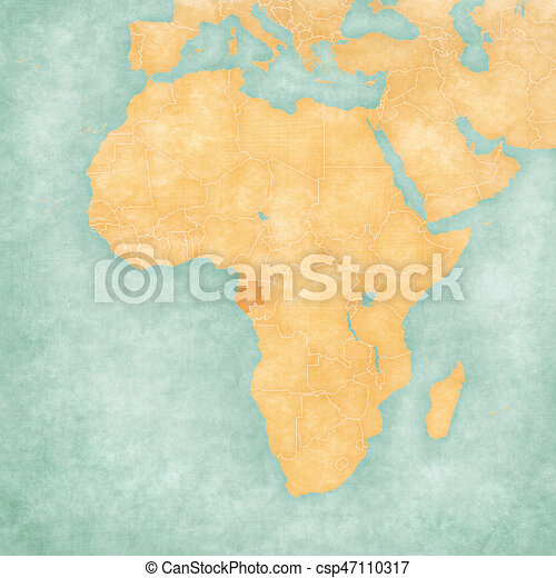 Map Of Africa Gabon Gabon On The Map Of Africa In Soft Grunge And