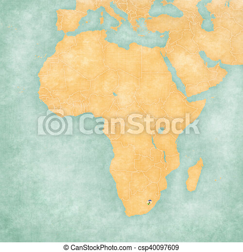 Map Of Africa Lesotho Lesotho Basotho Flag On The Map Of Africa