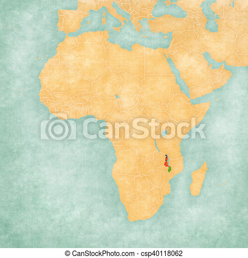 Malawi On Africa Map.Map Of Africa Malawi Malawi Malawian Flag On The Map Of Africa