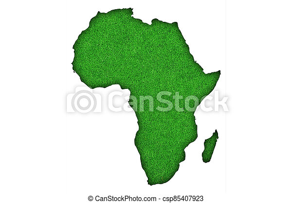 Map of Africa on green felt - csp85407923