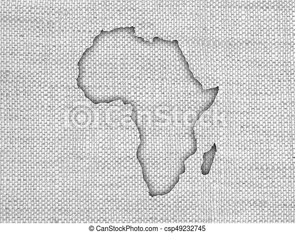 Map of Africa on old linen - csp49232745