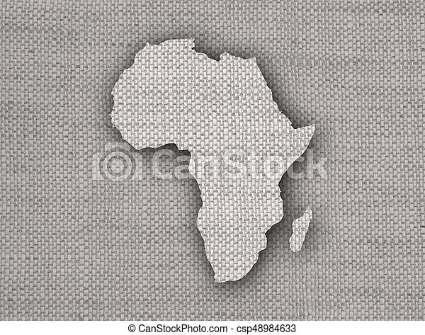Map of Africa on old linen - csp48984633