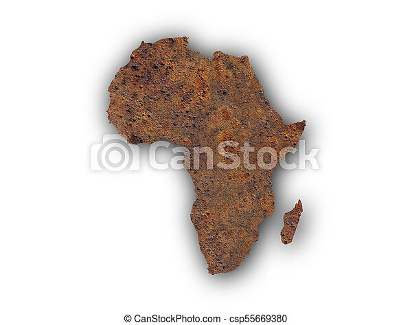 Map of Africa on rusty metal - csp55669380