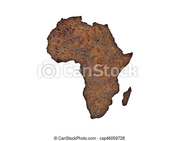 Map of Africa on rusty metal - csp46059728