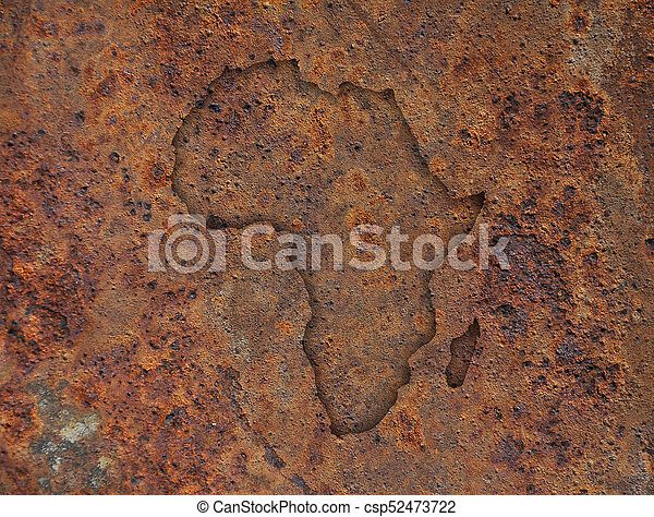 Map of Africa on rusty metal - csp52473722