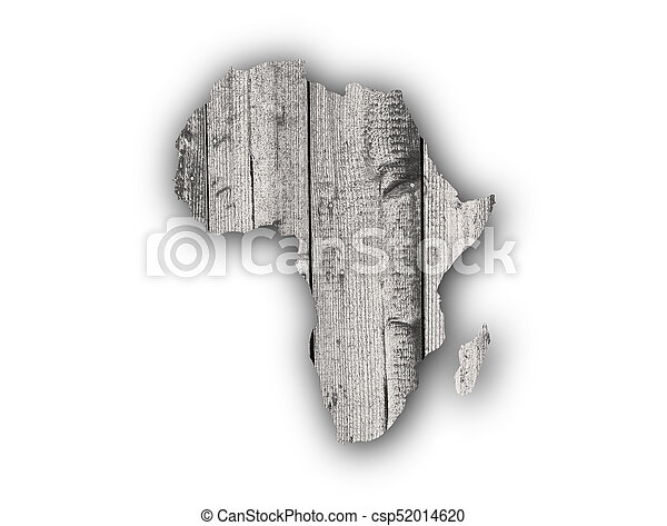 Map of Africa on weathered wood - csp52014620