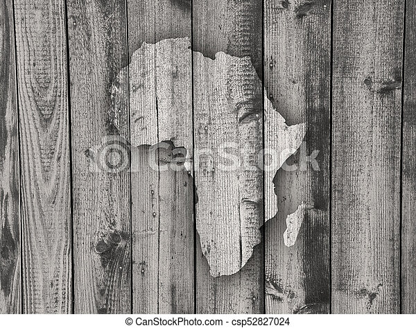 Map of Africa on weathered wood - csp52827024