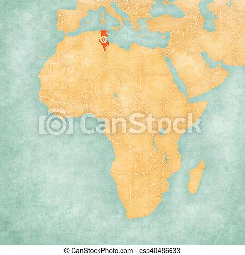 Map of africa - tunisia. Tunisia (tunisian flag) on the map of ...