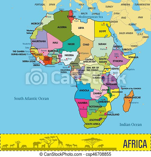 Map of africa with all countries and their capitals. Highly detailed ...