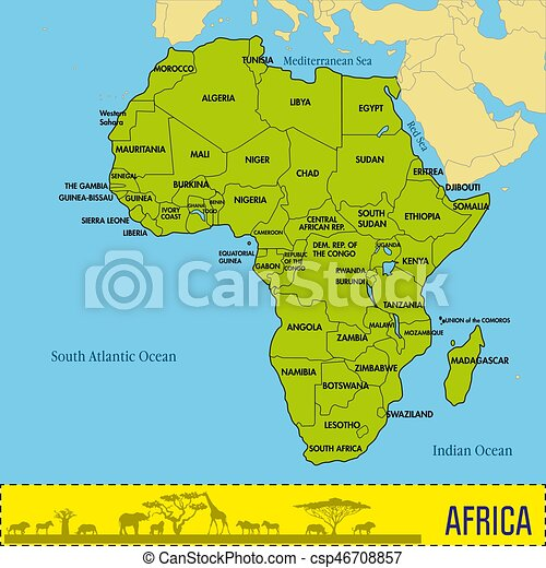 Map Of Africa With All Countries And Their Capitals Highly - World map and their capitals