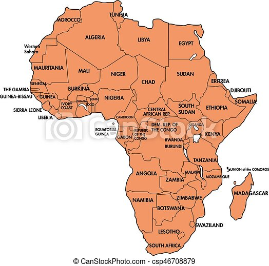Map Of Africa With All Countries Highly Detailed Political Map Of