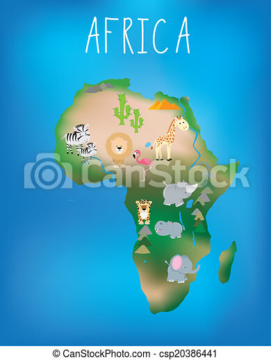 Map of africa with cute wildlife and animals. African world map