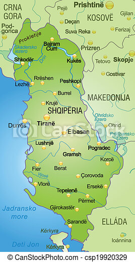 Map Of Albania As An Overview Map In Green