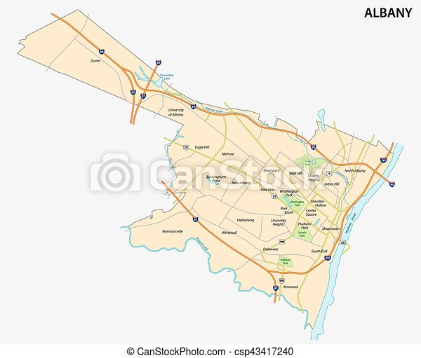 map of Albany the capital of the US State of New York - csp43417240