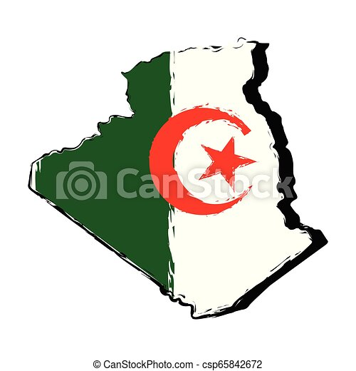 Map of Algeria with flag - csp65842672