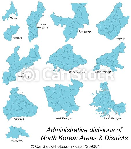 Map of all north korean areas All large and detailed vector