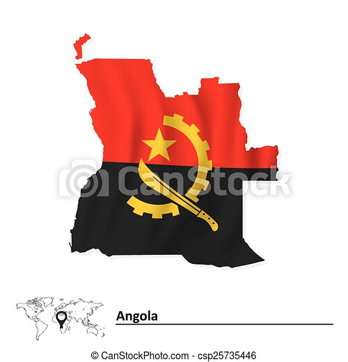 Map of Angola with flag - csp25735446