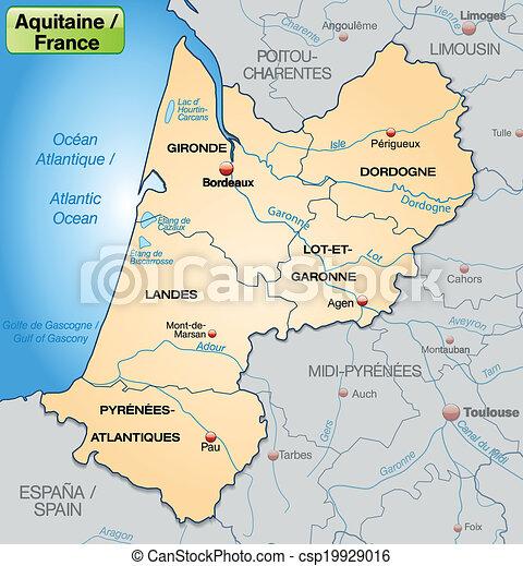 Map Of Aquitaine With Borders In Pastel Orange