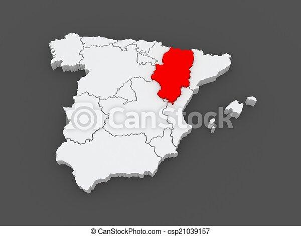 Map Of Aragon Spain 3d