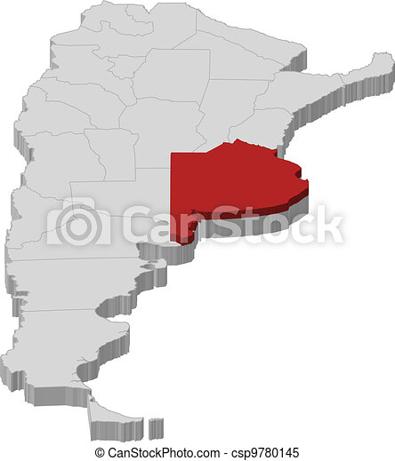 Map of argentina buenos aires highlighted Political map of