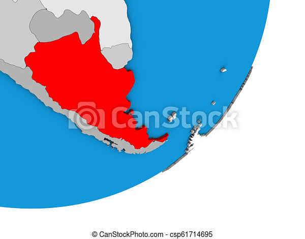 Map of Argentina on 3D globe - csp61714695
