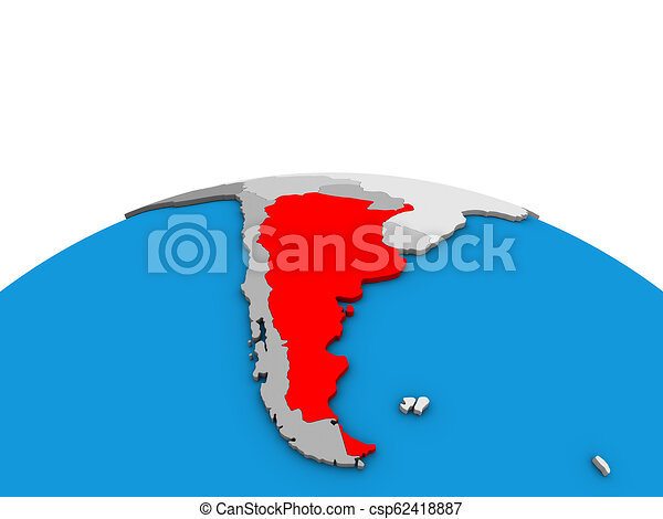 Map of Argentina on 3D globe - csp62418887