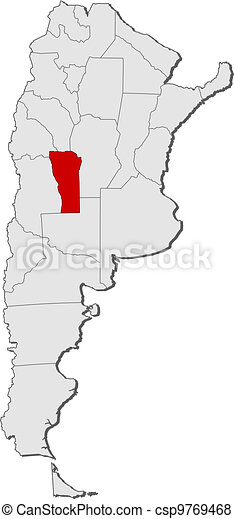 Map of argentina san luis highlighted Political map of vector