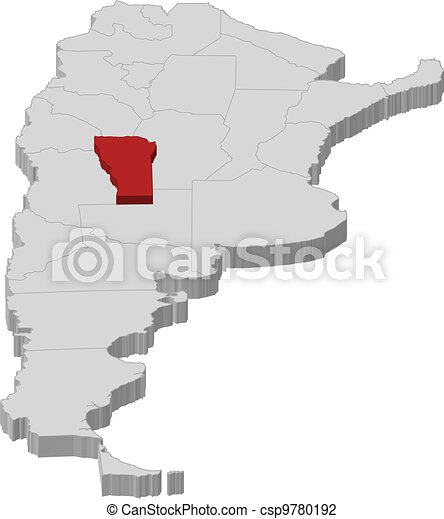 Map of Argentina, San Luis highlighted - csp9780192