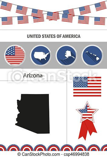 Map Of Arizona Set Of Flat Design Icons Nfographics Elements With