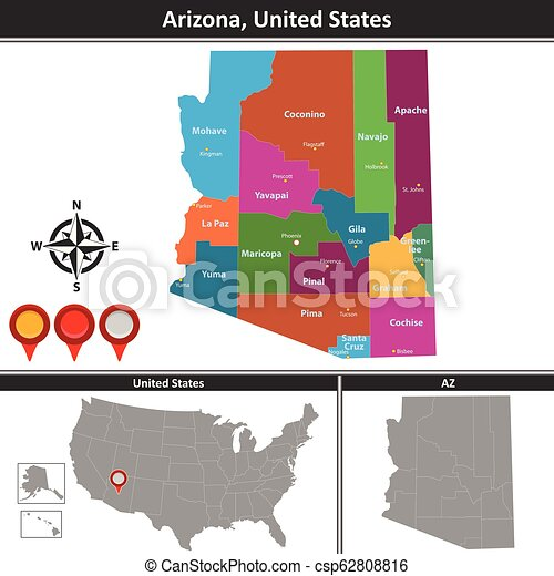 Map of arizona, us. Vector map of arizona with counties and location ...