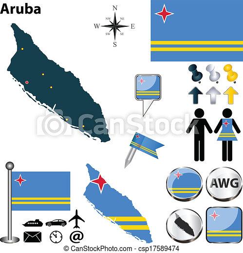 Map of Aruba - csp17589474
