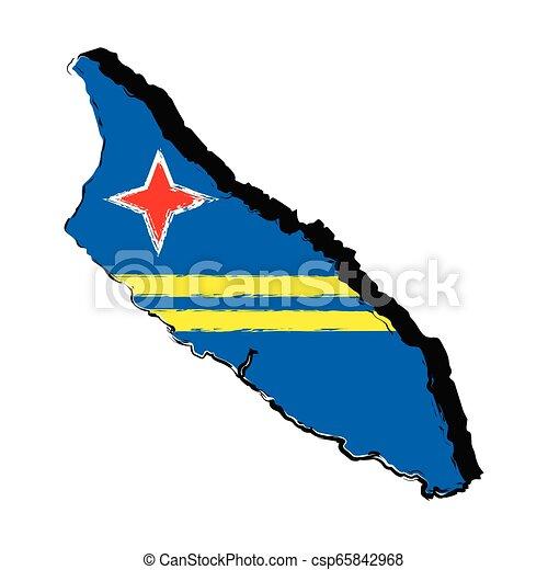 Map of Aruba with flag - csp65842968