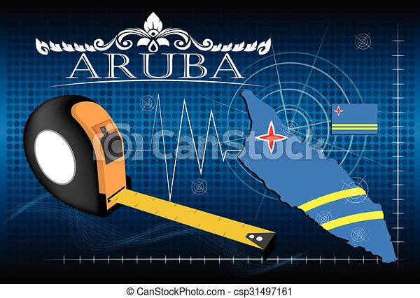 Map of Aruba with ruler, vector. - csp31497161