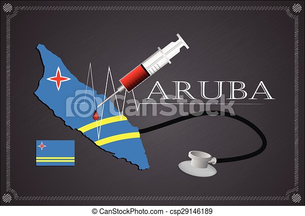 Map of Aruba with Stethoscope and syringe. - csp29146189