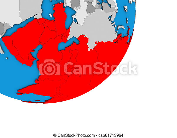 Map of Asia on 3D globe - csp61713964