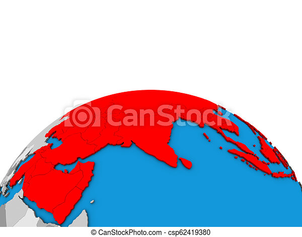 Map of Asia on 3D globe - csp62419380