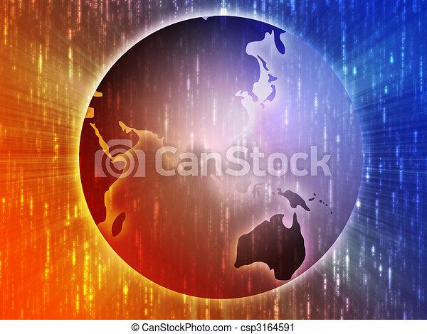 Map of Asia on globe illustration - csp3164591