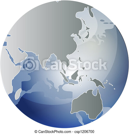 Map of Asia on globe illustration - csp1206700