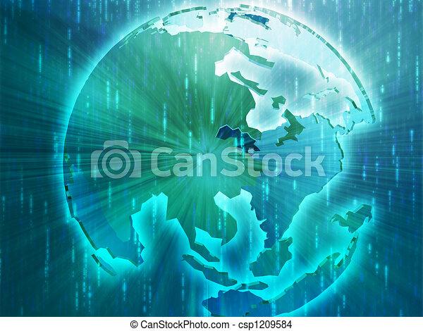 Map of Asia on globe illustration - csp1209584