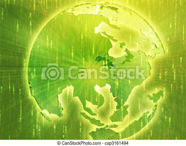 Map of Asia on globe illustration - csp3161494