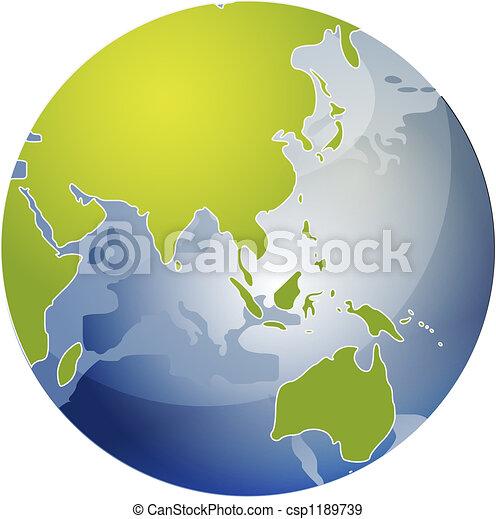 Map of Asia on globe  illustration - csp1189739