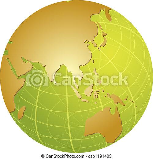 Map of Asia on globe illustration - csp1191403