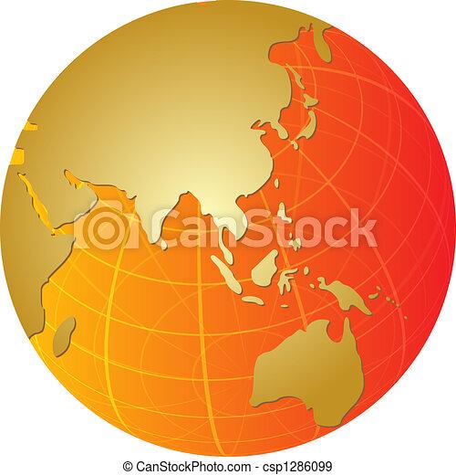 Map of Asia on globe illustration - csp1286099