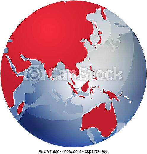 Map of Asia on globe illustration - csp1286098