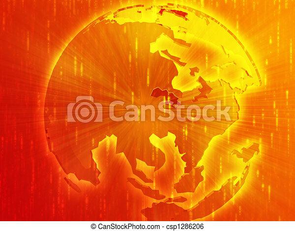 Map of Asia on globe illustration - csp1286206