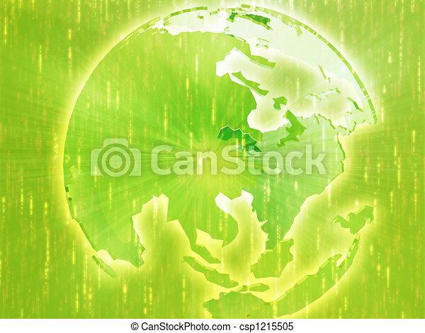 Map of Asia on globe illustration - csp1215505