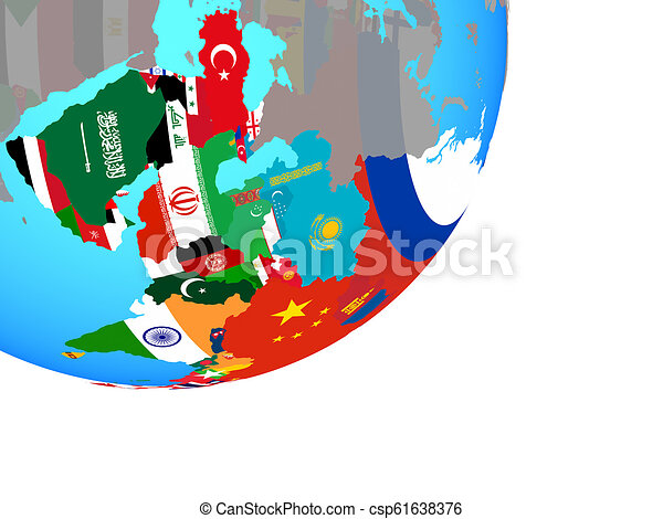 Map of Asia with flag on globe - csp61638376
