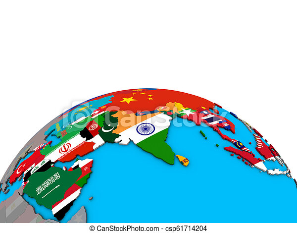 Map of Asia with flags on globe - csp61714204